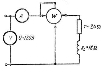 Рис. 167. Электрическая цепь с активным и индуктивным сопротивлениями и измерительными приборами