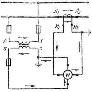 Рис. 231. Включение ваттметра с помощью измерительных трансформаторов