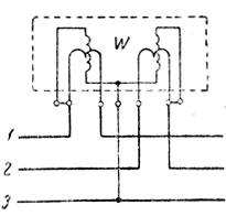 Рис. 236. Схема включения трехфазного двухэлементного ваттметра